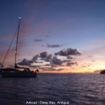 Ankrad i Deep Bay, Antigua.